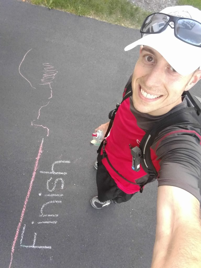 Patrick Durante - Crossing the finish line the family drew.
